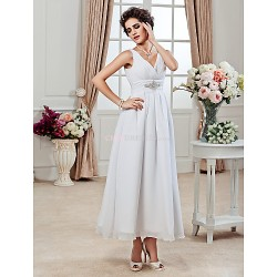 A Line Princess Plus Sizes Wedding Dress White Ankle Length V Neck Chiffon