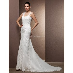 Trumpet/Mermaid Plus Sizes Wedding Dress - Ivory Court Train Square Tulle/Lace