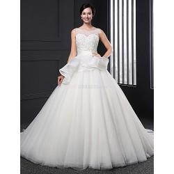 A-line Wedding Dress - White Chapel Train Jewel Lace