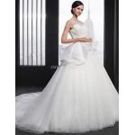 A-line Wedding Dress - White Chapel Train Jewel Lace Wedding Dresses