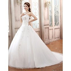 Ball Gown Sweep/Brush Train Wedding Dress -Sweetheart Satin