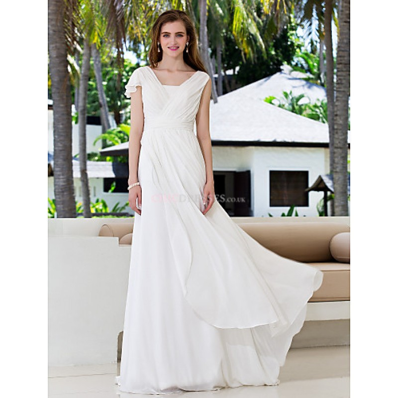 A-line Plus Sizes Wedding Dress - Ivory Sweep/Brush Train V-neck ...