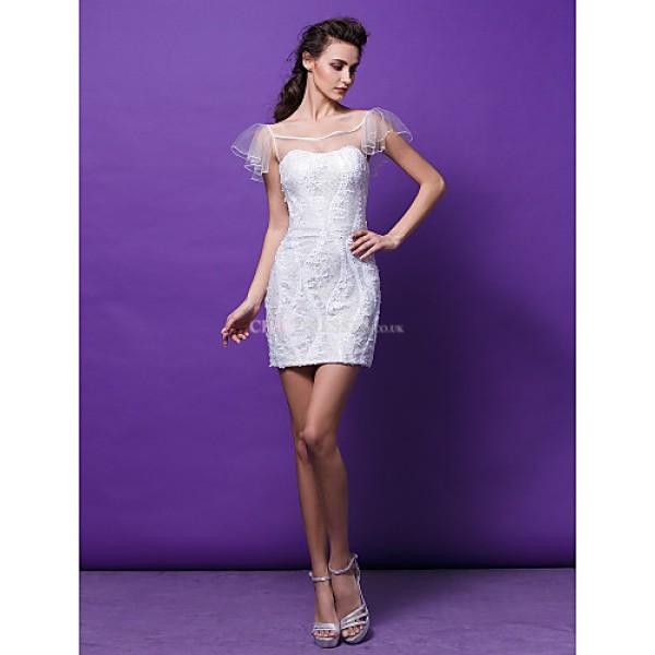 Cocktail Party Dress Ivory Plus Sizes Petite Sheath Column Scoop Short Mini Sequined