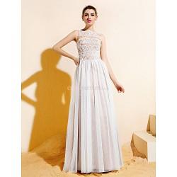 Floor Length Lace Tulle Bridesmaid Dress Ivory Plus Sizes Petite A Line Bateau