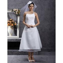 A-line/Princess Plus Sizes Wedding Dress - Ivory Tea-length Spaghetti Straps Organza