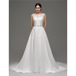 A Line Wedding Dress White Court Train Scoop Organza