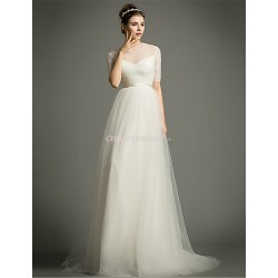 A Line Sweep Brush Train Wedding Dress Jewel Tulle