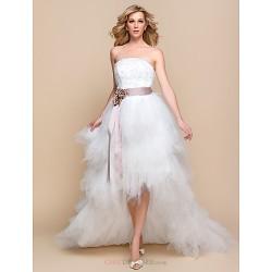 A Line Princess Wedding Dress Ivory Asymmetrical Strapless Tulle
