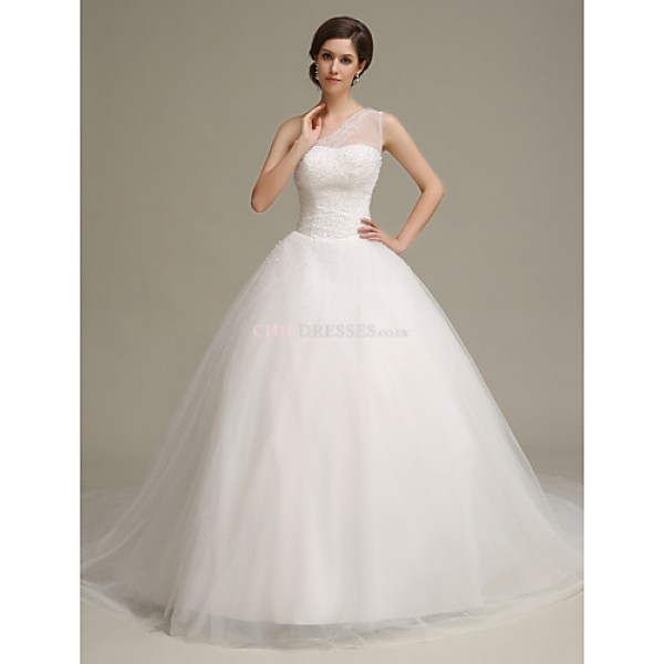 Ball Gown Chapel Train Wedding Dress -One Shoulder Tulle Wedding Dresses
