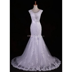 Trumpet Mermaid Sweep Brush Train Wedding Dress V Neck Lace