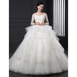 Ball Gown Wedding Dress - White Sweep/Brush Train Off-the-shoulder Organza