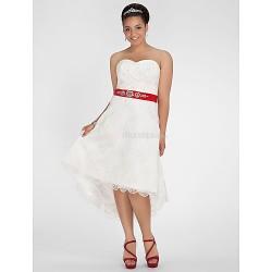 A-line/Princess Plus Sizes Wedding Dress - Ivory Asymmetrical Sweetheart Lace