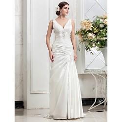 A-line Plus Sizes Wedding Dress - Ivory Sweep/Brush Train V-neck Stretch Satin