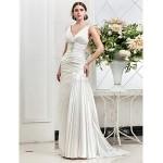 A-line Plus Sizes Wedding Dress - Ivory Sweep/Brush Train V-neck Stretch Satin Wedding Dresses