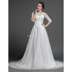 A Line Wedding Dress Ivory Sweep Brush Train Jewel Tulle