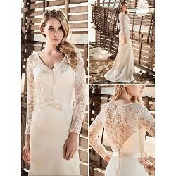 Sheath Column Wedding Dress White V Neck