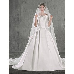 Ball Gown Wedding Dress - Ivory Chapel Train Scoop Taffeta / Stretch Satin