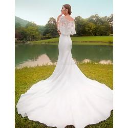 Trumpet/Mermaid Wedding Dress - White Chapel Train Bateau Lace / Taffeta / Stretch Satin