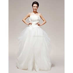 Princess Wedding Dress White Floor Length Strapless Organza Tulle