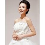 Princess Wedding Dress - White Floor-length Strapless Organza/Tulle Wedding Dresses