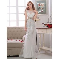 Trumpet/Mermaid Wedding Dress - White Floor-length V-neck Satin / Tulle