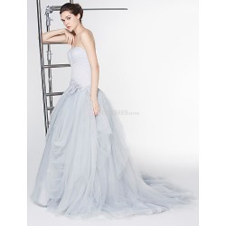 A Line Wedding Dress Silver Ankle Length Scoop Lace Tulle
