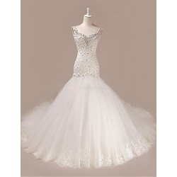 Trumpet Mermaid Wedding Dress Ivory Court Train V Neck Tulle