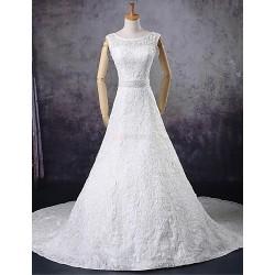 A-line Wedding Dress - Ivory Court Train Scoop Lace