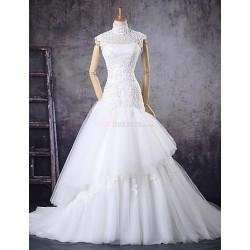 Trumpet/Mermaid Wedding Dress - Ivory Court Train High Neck Tulle