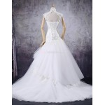 Trumpet/Mermaid Wedding Dress - Ivory Court Train High Neck Tulle Wedding Dresses