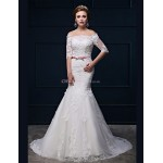 Trumpet/Mermaid Wedding Dress - White Court Train Off-the-shoulder Lace/Tulle/Charmeuse Wedding Dresses