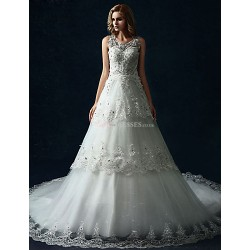 A Line Wedding Dress White Cathedral Train Scoop Tulle