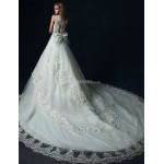 A-line Wedding Dress - White Cathedral Train Scoop Tulle Wedding Dresses