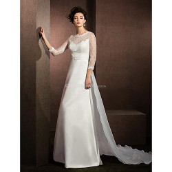 A Line Wedding Dress Ivory Chapel Train Jewel Lace Organza Satin