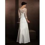 A-line Wedding Dress - Ivory Chapel Train Jewel Lace/Organza/Satin Wedding Dresses