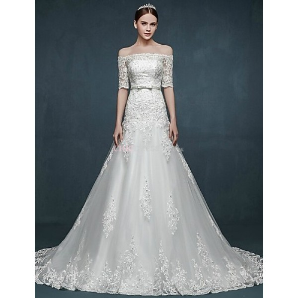 A-line Wedding Dress - White Court Train Off-the-shoulder Tulle Wedding Dresses