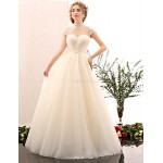 A-line Wedding Dress - Ivory Floor-length High Neck Tulle / Stretch Satin Wedding Dresses