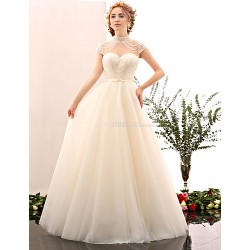 A-line Wedding Dress - Ivory Floor-length High Neck Tulle / Stretch Satin