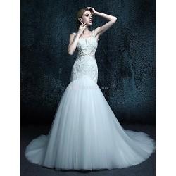 Trumpet/Mermaid Court Train Wedding Dress - Spaghetti Straps Tulle
