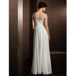 A-line Petite / Plus Sizes Wedding Dress - Ivory Floor-length Jewel Satin Chiffon Wedding Dresses