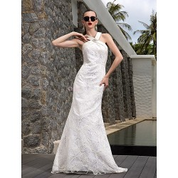 A-line Plus Sizes Wedding Dress - Ivory Sweep/Brush Train V-neck Satin/Lace/Stretch Satin