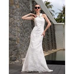 A Line Plus Sizes Wedding Dress Ivory Sweep Brush Train V Neck Satin Lace Stretch Satin