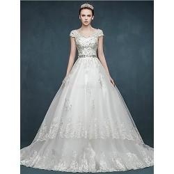 Ball Gown Wedding Dress White Court Train V Neck Tulle