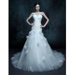 Trumpet/Mermaid Chapel Train Wedding Dress - V-neck Tulle Wedding Dresses