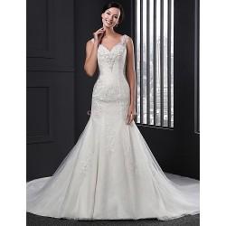Sheath/Column Wedding Dress - Ivory Chapel Train V-neck Lace