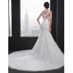 Sheath/Column Wedding Dress - Ivory Chapel Train V-neck Lace Wedding Dresses