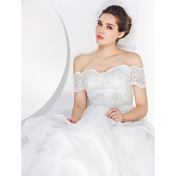 - A-line Wedding Dress - Ivory Sweep/Brush Train Off-the-shoulder Lace / Organza Wedding Dresses