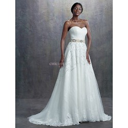 A Line Wedding Dress Ivory Sweep Brush Train Sweetheart Lace