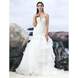 A Line Court Train Wedding Dress Sweetheart Lace Organza
