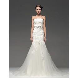 Fit & Flare Floor Length Wedding Dress Strapless Satin
